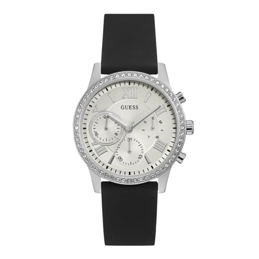 Dámské hodinky s černým silikonovým páskem Guess W1135L5