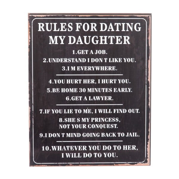 Cedule Rules for dating, 40x50 cm
