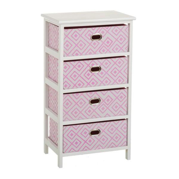 Poliță cu 4 sertare Unimasa Paulonia, 40 x 73 cm, roz