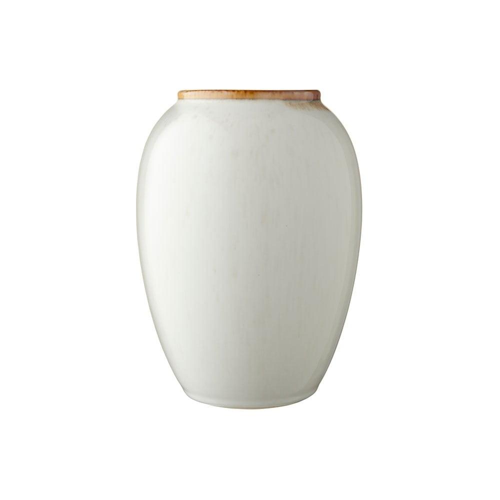 Krémová kameninová váza Bitz Basics Cream, výška 20 cm
