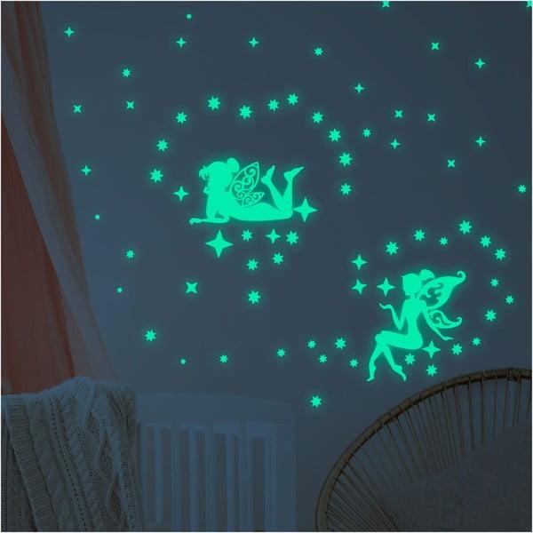 Set autocolante fosforescente de perete Ambiance Glow In The Dark Big Fairies