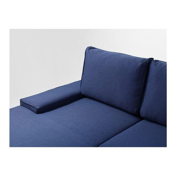 Modrá rozkládací rohová pohovka s úložným prostorem a lenoškou na levé straně Custom Form Flopp