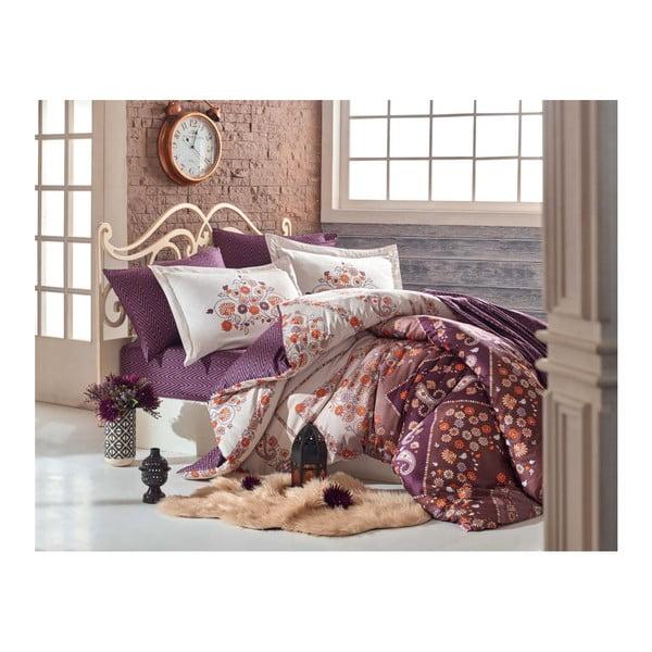 Lenjerie de pat cu cearșaf din bumbac satinat Juliana,200x220cm