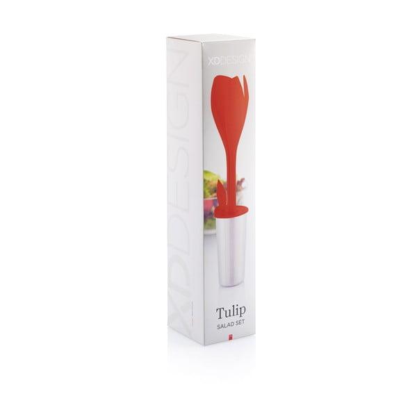 Červená sada na salát XD Design Tulip