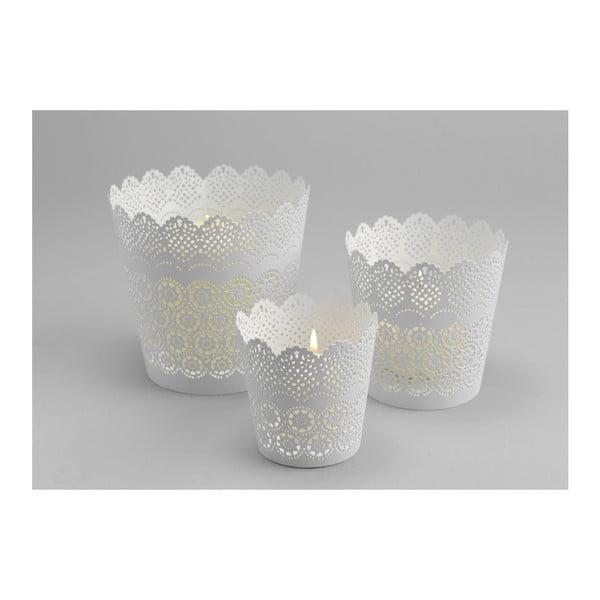 Set 3 kalíšků na svíčku Lace White