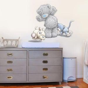Samolepka na stěnu Medvídek, kočička a pejsek, 70x50 cm