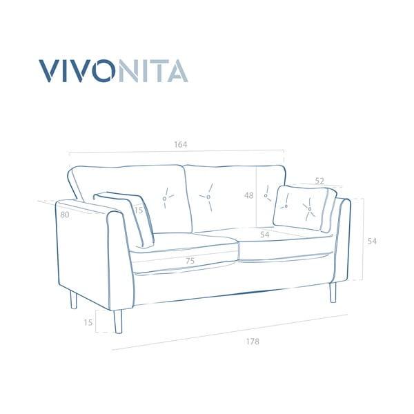 Canapea 3 locuri Vivonita Portobello, roșu închis