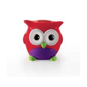 Červená kasička ve tvaru sovy e-my Alfred
