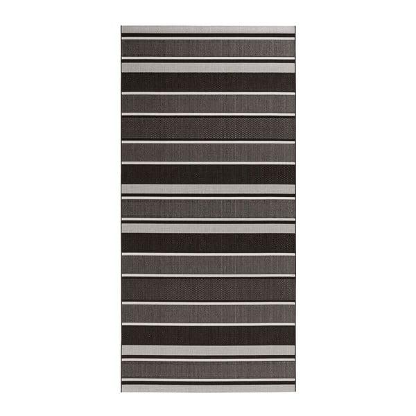 Čierny koberec vhodný aj do exteriéru Bougari Strap, 80 × 150 cm