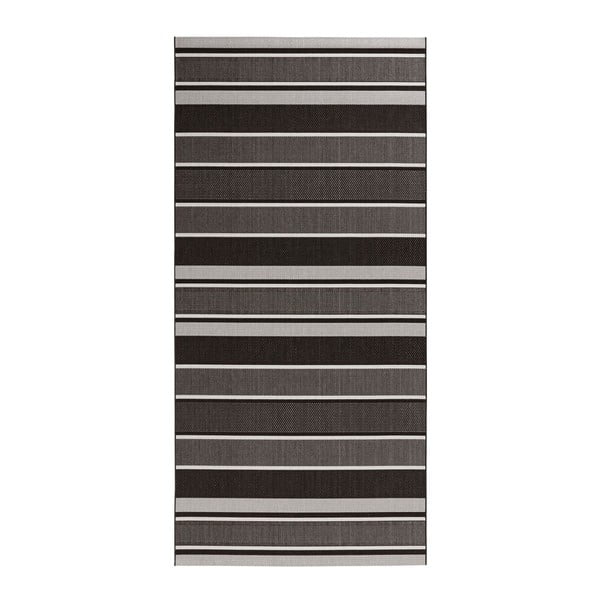 Černý koberec vhodný i na ven Bougari Strap, 80x150cm