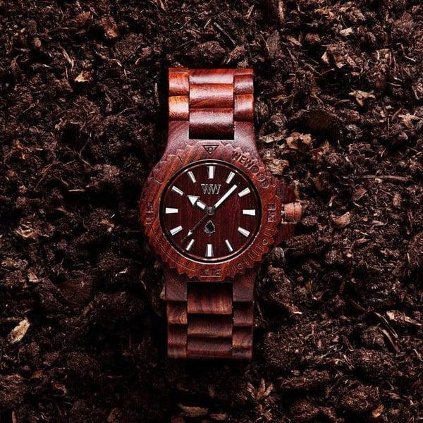 Dřevěné hodinky Date Brown