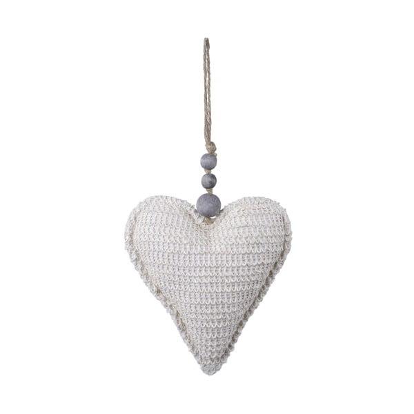 Bílá látková závěsná ozdoba ve tvaru srdce Ego Dekor, 17 x 32 cm