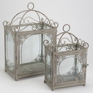 Sada 2 luceren Grey Lanterns Metal