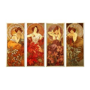 Set 4 tablouri Alfons Mucha - The Precious Stones, 30x70 cm
