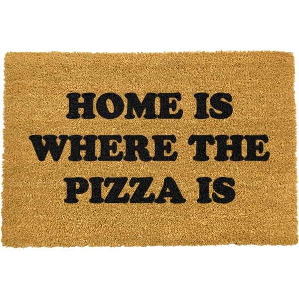 Covoraș intrare din fibre de cocos Artsy Doormats Home Is Where the Pizza Is, 40 x 60 cm
