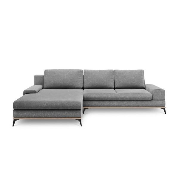 Sivá rozkladacia rohová pohovka Windsor & Co Sofas Planet, ľavý roh