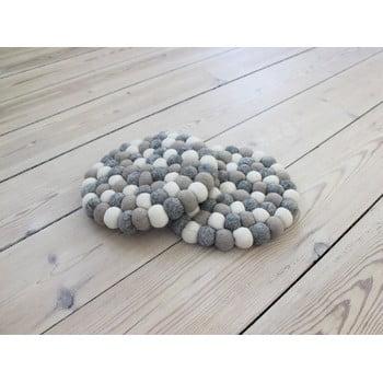 Suport pahar, cu bile din lână Wooldot Ball Coaster, ⌀ 20 cm, alb - gri deschis