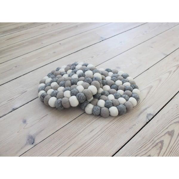Světle šedo-bílý kuličkový podtácek z vlny Wooldot Ball Coaster, ⌀ 20 cm