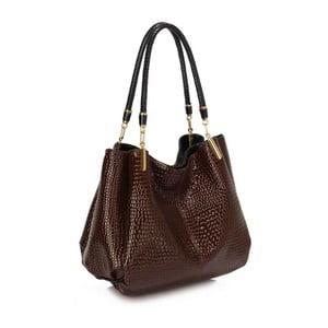Hnědá kabelka z eko kůže L&S Bags Snake Effect