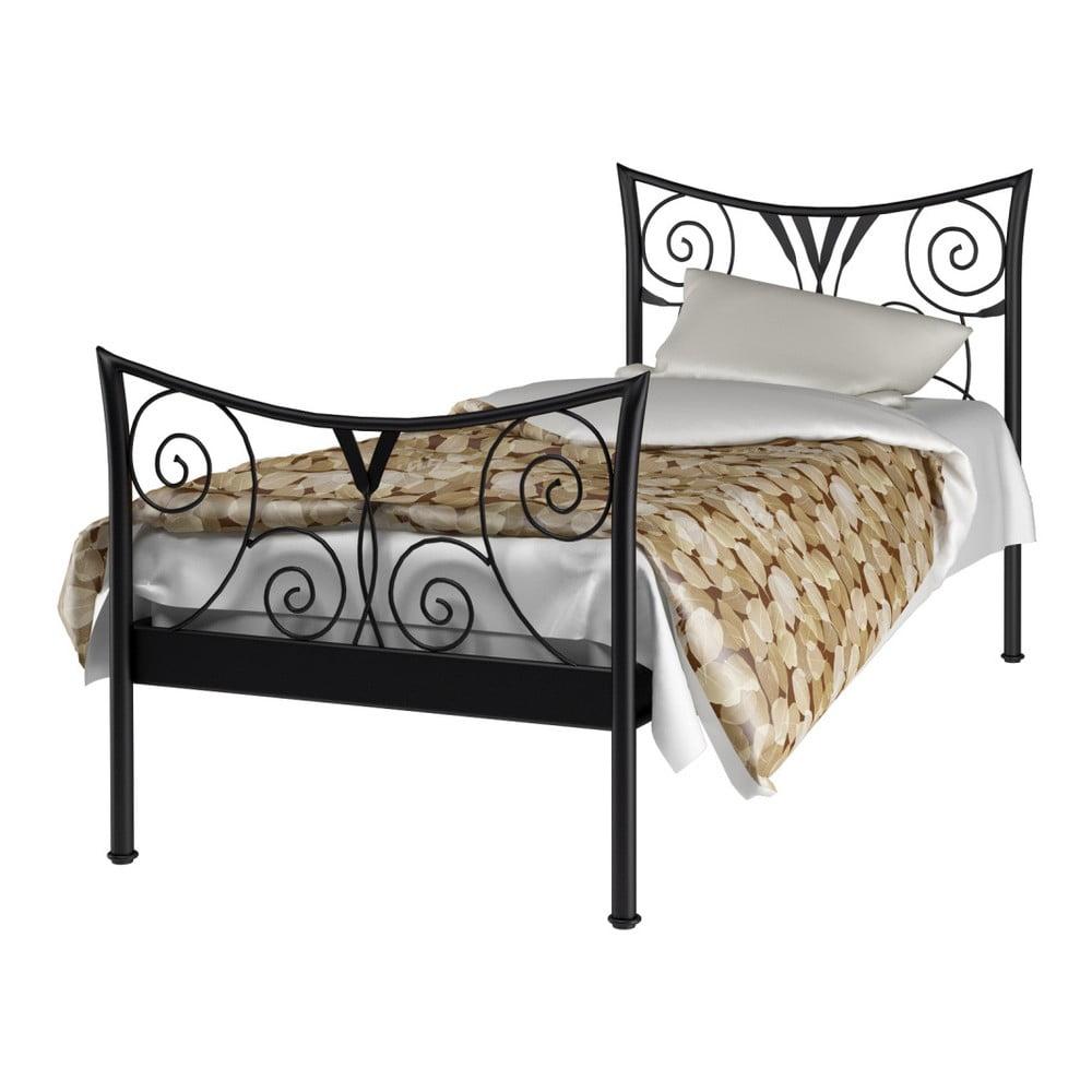 Černá kovová postel Støraa Elizabeth, 90x200cm