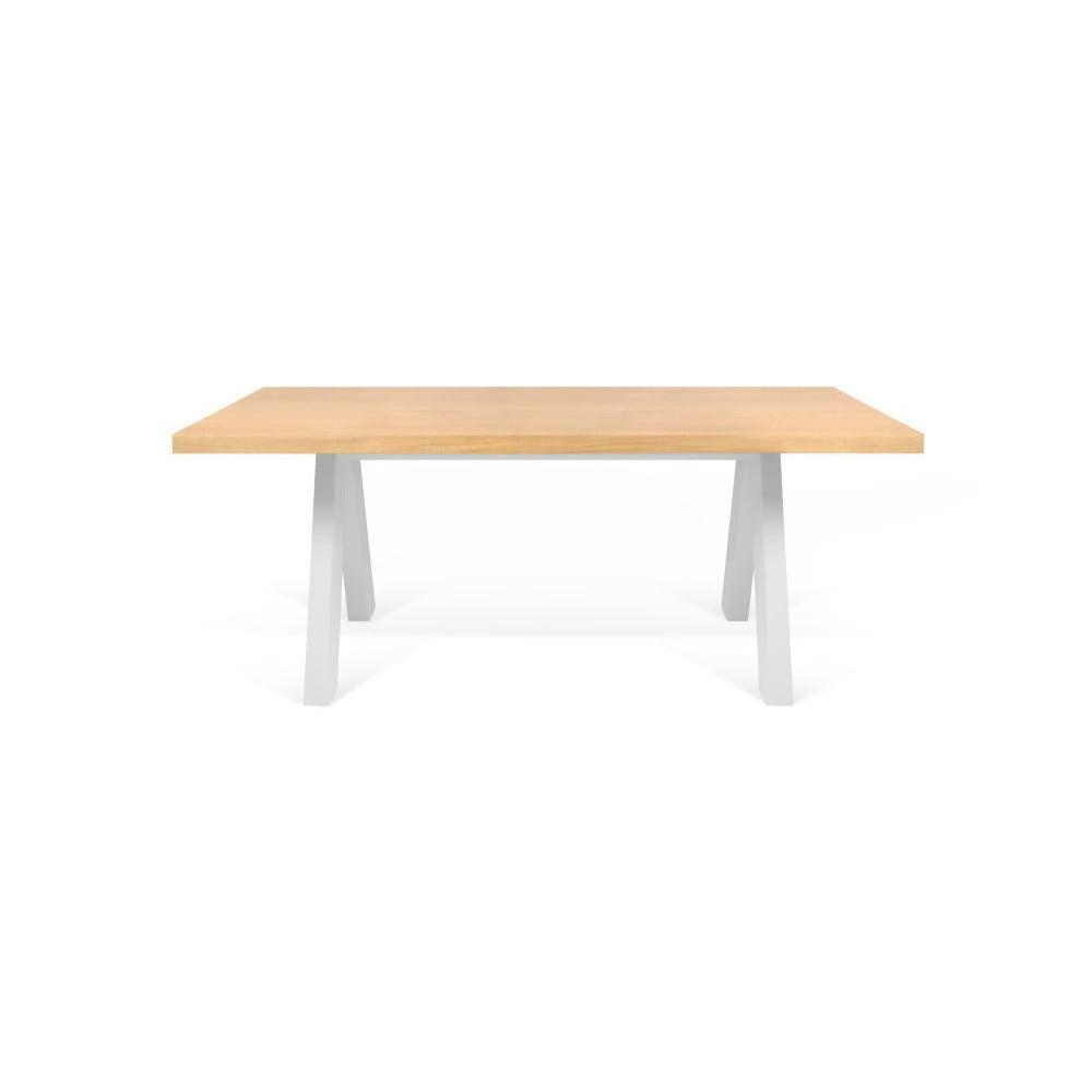 Jídelní stůl v dekoru dubového dřeva s bílými nohami TemaHome Apex