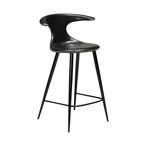 Scaun bar din piele ecologică DAN–FORM Denmark Flair, negru