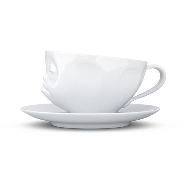 Bílý rozmrzelý porcelánový hrnek s podšálkem 58products