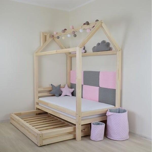 Sada 4 bílých prodloužených nohou z smrkového dřeva k posteli Benlemi,výška20cm