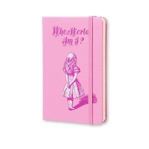 Malý růžový zápisník Moleksine Alice in Wonderland, bez linek