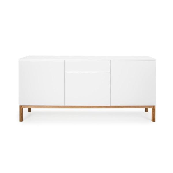 Biała 3-drzwiowa komoda z szufladą w dekorze drewna dębowego Tenzo Patch