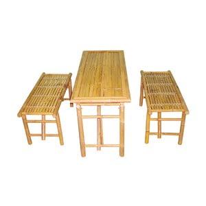 Set masă cu 2 bănci din bambus Leitmotiv