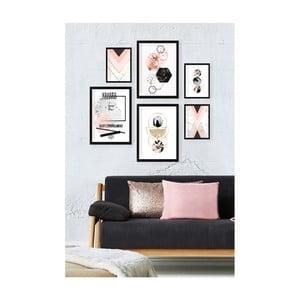 Sada 6 nástěnných obrazů Tablo Center Pinky Tones