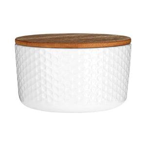 Bílá dóza s bambusovým víkem Premier Housewares