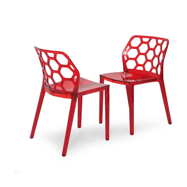 Sada 2 červených židlí Garageeight Honeycomb