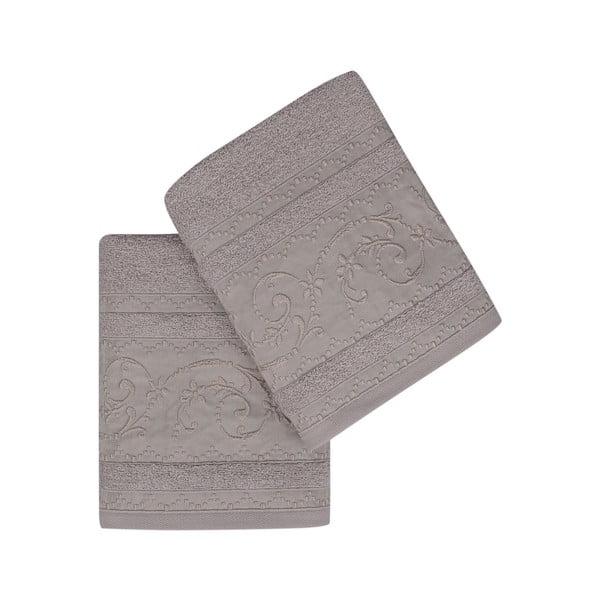 Sada 2 hnědých bavlněných ručníků Yosemine, 50 x 90 cm