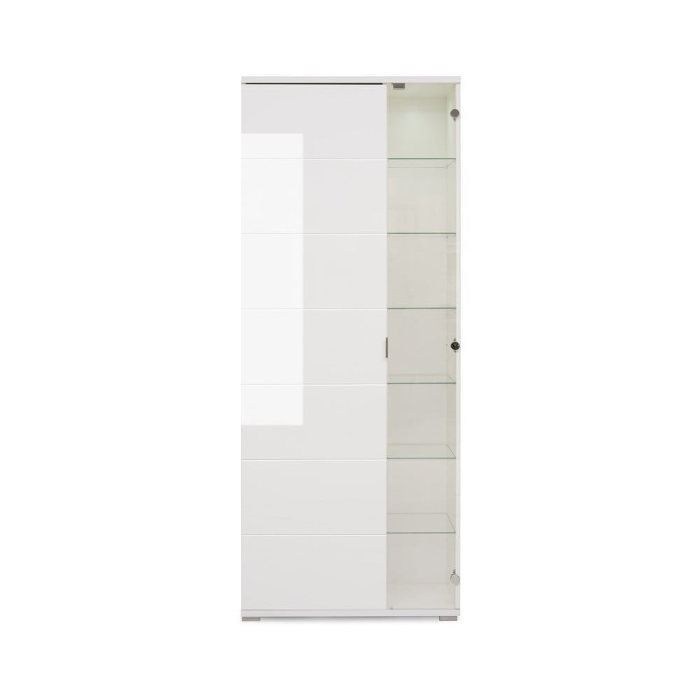 Lesklá bílá prosklená skříňka Intertrade Glossy