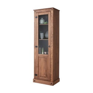 Vitrină din lemn de pin Støraa Alfredo, maro închis