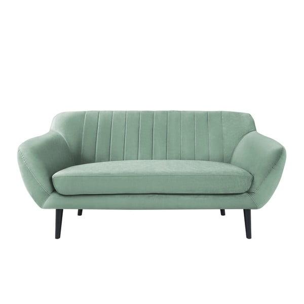 Canapea cu 2 locuri și picioare negre Mazzini Sofas Toscane, verde mentă