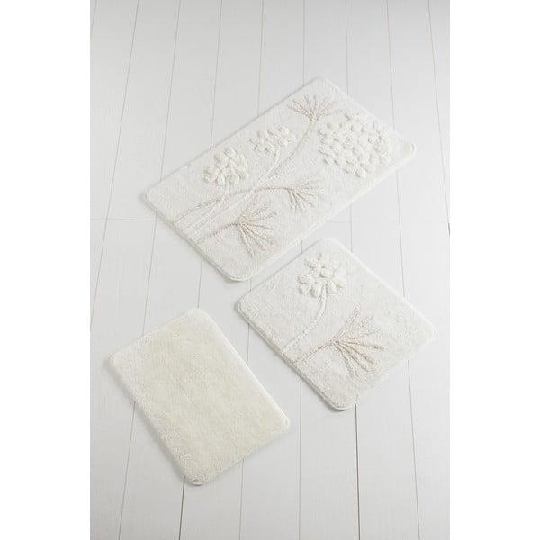 Set 3 covorașe de baie Confetti Bathmats, alb