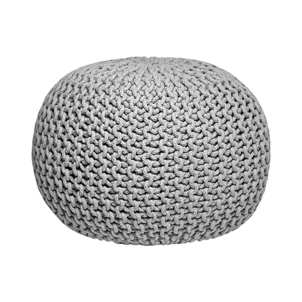 Sivý pletený puf LABEL51 Knitted