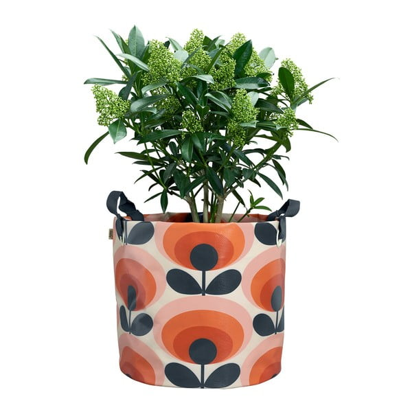 Oranžový textilní květináč Orla Kiely Gerbera,Ø 30cm