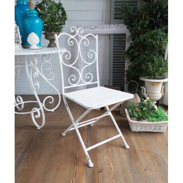 Kovová židle Old White