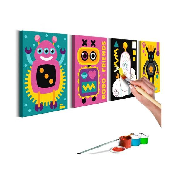 DIY set na tvorbu vlastného obrazu na plátne Artgeist Robots, 44 × 165 cm
