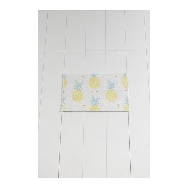 Bílo-žlutá koupelnová předložka Tropica Ananas, 60 x 40 cm