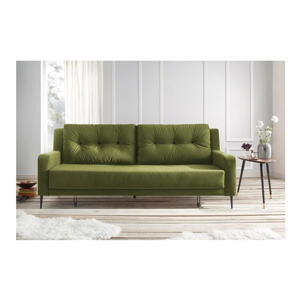 Bergen zöld kinyitható kanapé - Bobochic Paris