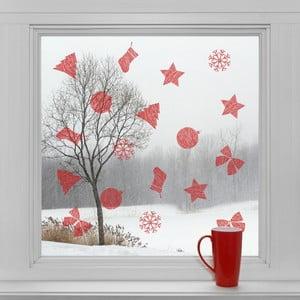Elektrostatické vánoční samolepky Červené dekorace