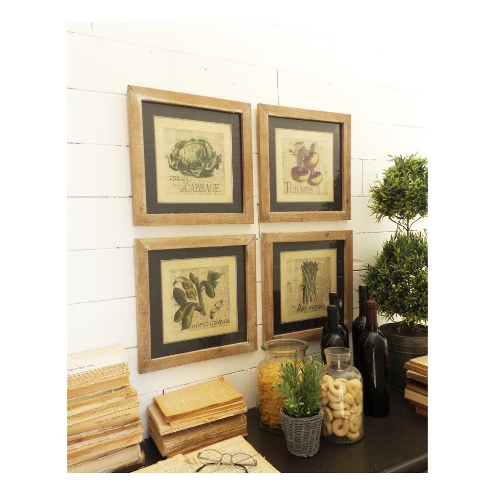 Sada 4 dekorací na stěnu s dřevěným rámem Orchidea Milano Bistro, 34 x 34 cm