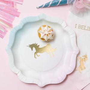 Bílo-zlatý papírový talíř Talking Tables We Heart Unicorns