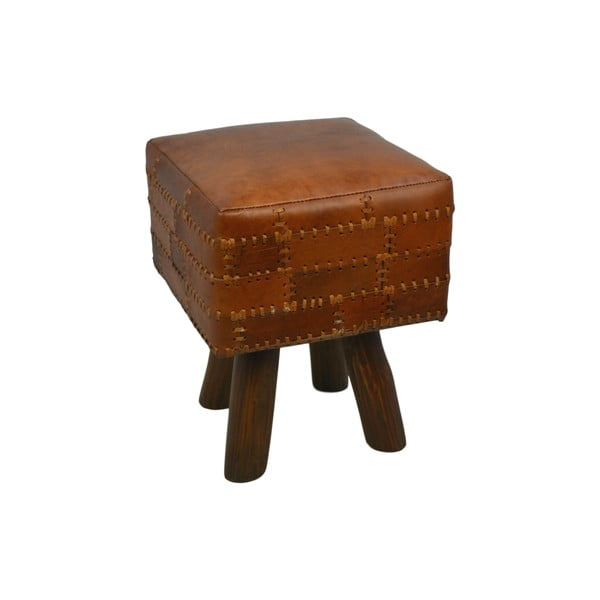 Taboret z skóry bydlęcej HSM collection Art of Nature Vintage Cognac, 33x45 cm