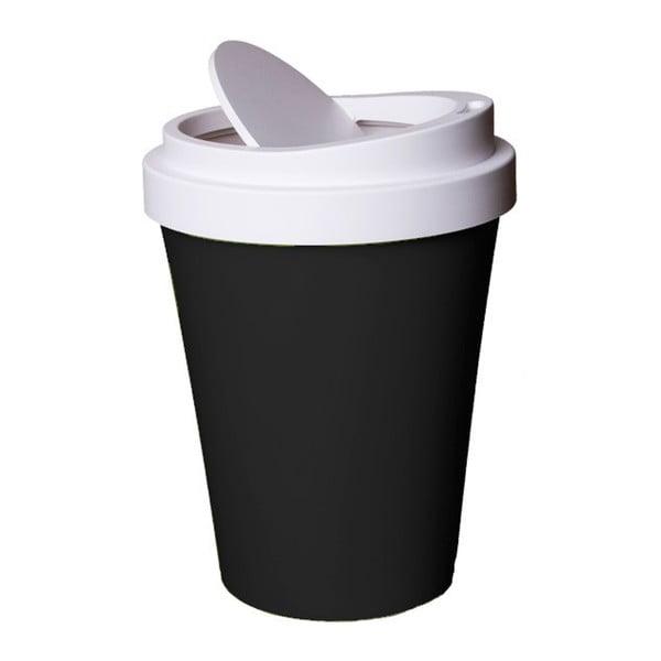 Černo-bílý odpadková koš Qualy&CO Coffee Bin